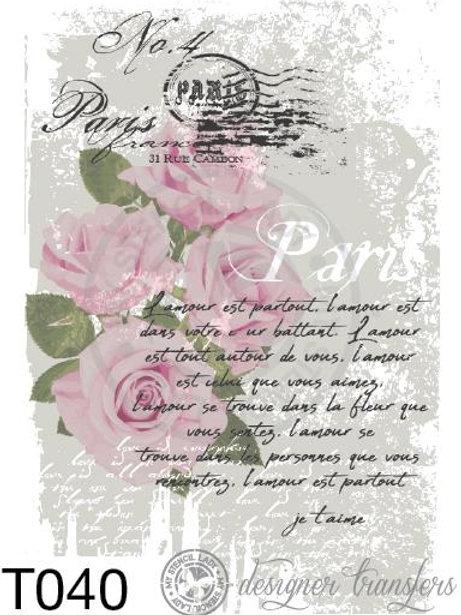 T040: A3 : Parisian Pink Roses & Script