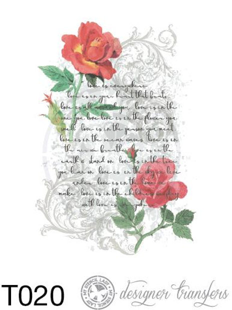 T020: A4 French Script & Roses