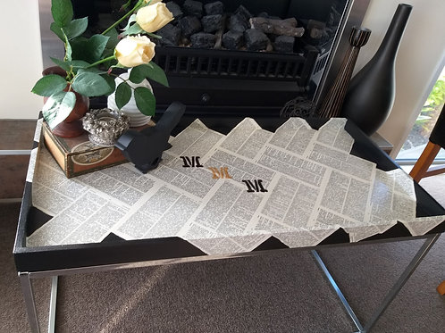 Dictionary coffee table with lift out tray