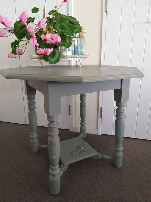Octagonal side table with shelf