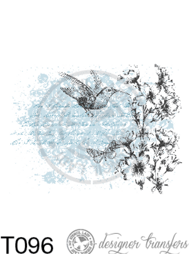 T096: A4 Bird & Flowers on Blue