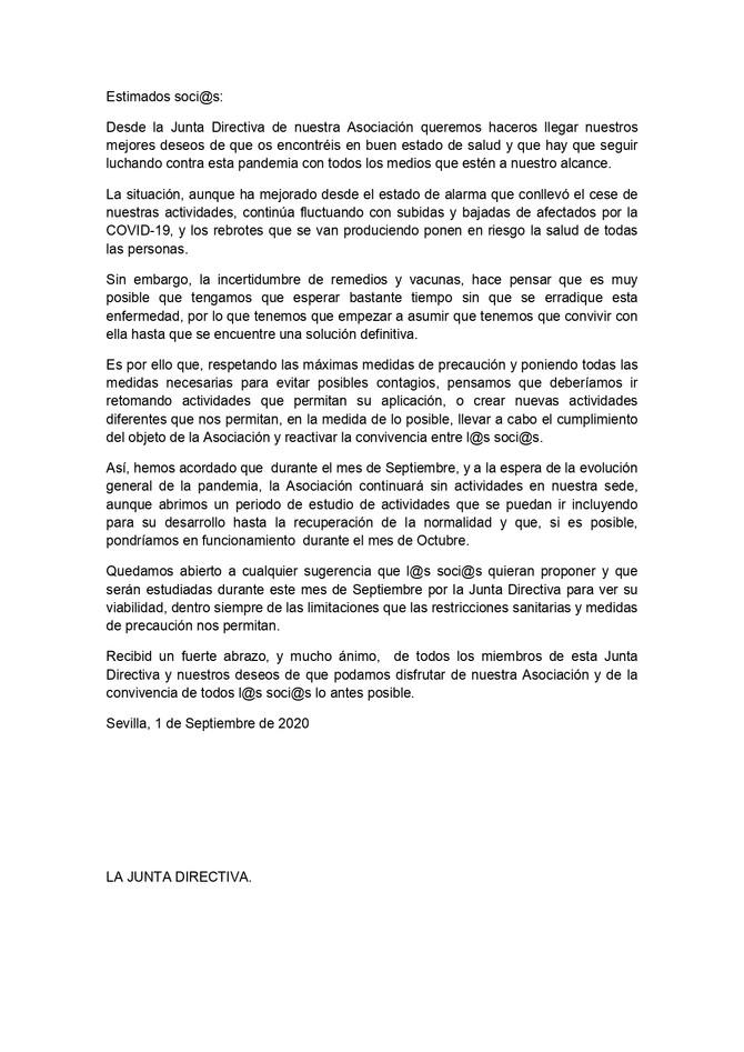 COMUNICADO DE ACDEJATELLEVAR A LOS SOCIOS