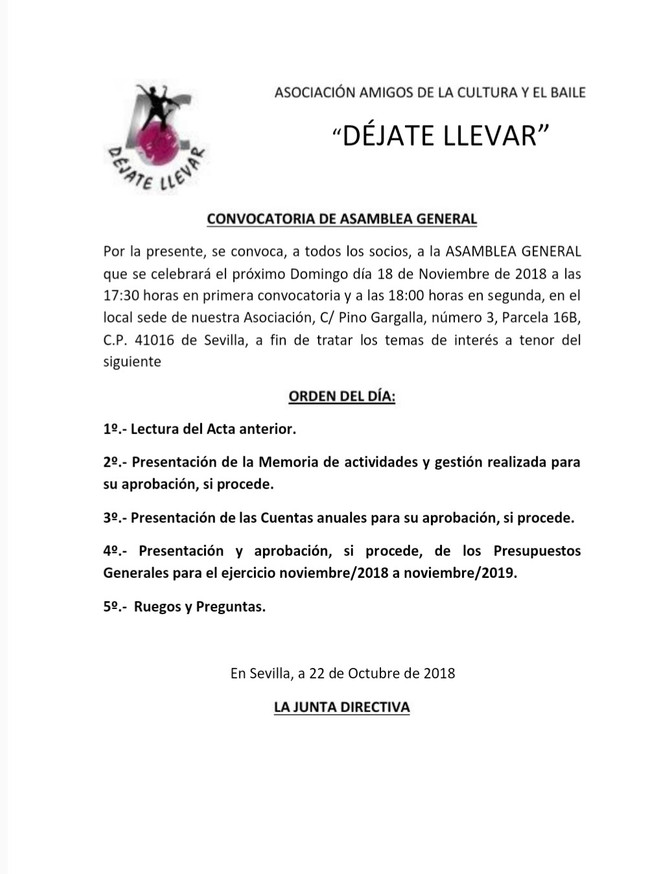 Convocatoria de Asamblea General