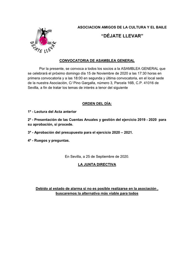 Convocatoria de Asamblea General 2020