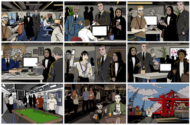 Selected e-Learning/ Cyber Crime Prevention course illustrations.