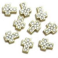 Gold crystal cross charm