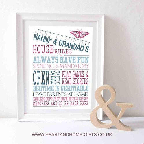 Nanny & Grandad's House Rules  (Word Art)