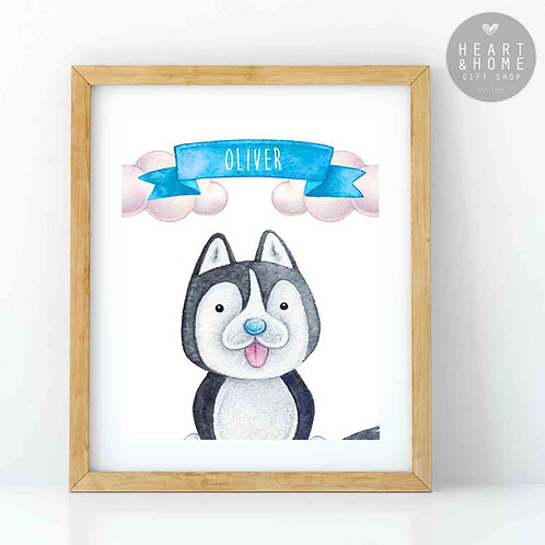 """Personalised 'Cute' Husky Picture (16""""x12"""")"""