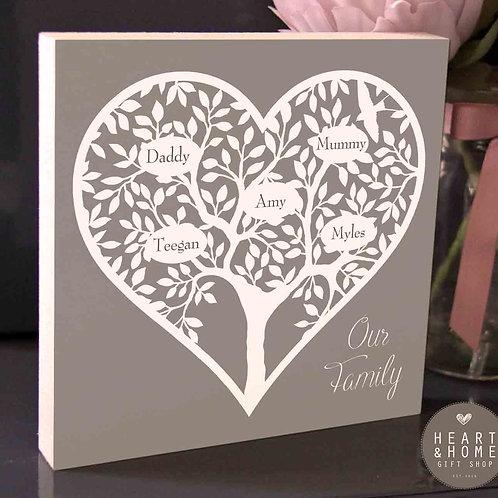 Family Tree (Heart) Plaque (freestanding)