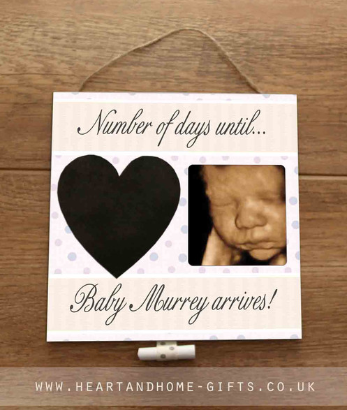 Baby Scan Photo Countdown Plaque (chalkboard