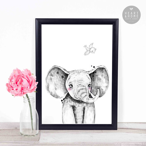"Baby Elephant & Bird (16""x12"" Picture)"