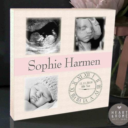 3 Photo Nursery Plaque (Pink Banner)