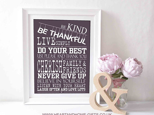 Be Kind, Be Thankful  (Word Art)