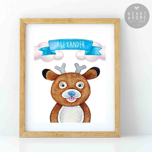 """Personalised 'Cute' Deer Picture (16""""x12"""")"""