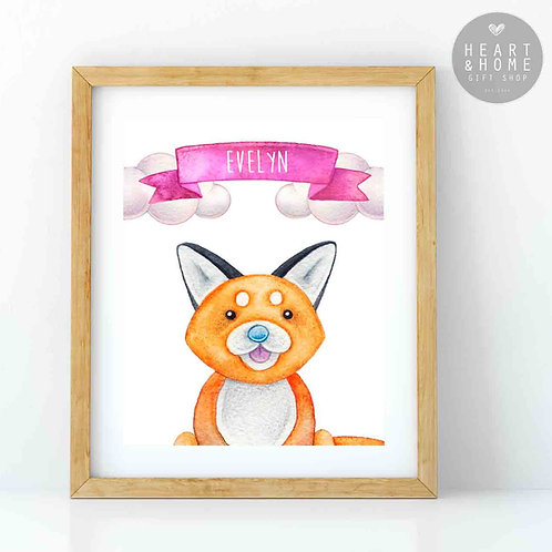 "Personalised 'Cute' Fox Picture (16""x12"")"
