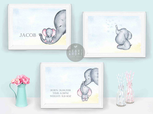 "Set of 3 'Elephant' Nursery Pictures (size 12""x10"")..."