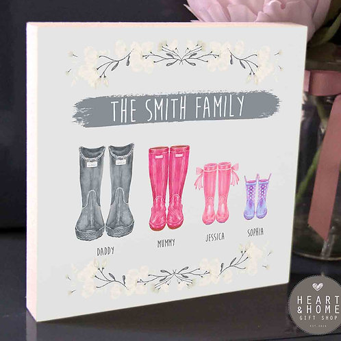 'The (Surname) Family' Boots...Wooden Block