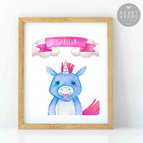 "Personalised 'Cute' Unicorn Picture (16""x12"")"