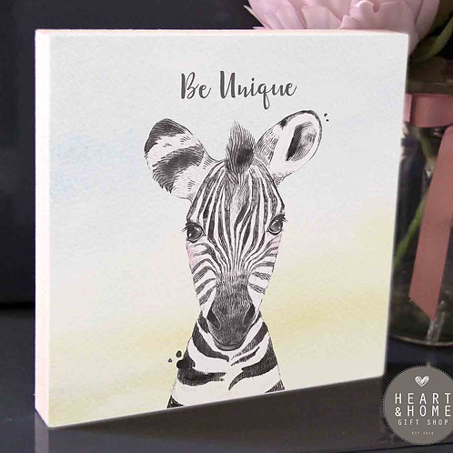 'Be Unique' Baby Zebra (Wooden Block)...
