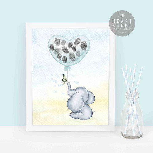 Baby Shower Elephant Fingerprint Keepsake
