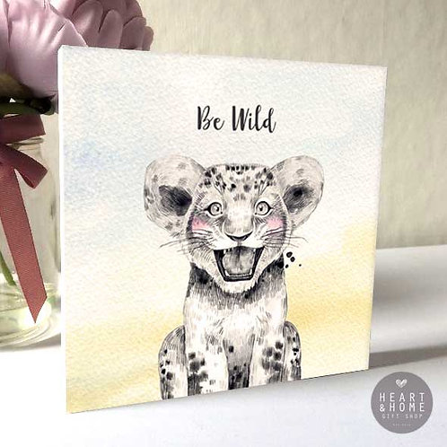 'Be Wild' Baby Lion (Wooden Block)...