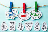 Join our team paper speech bubbles and s