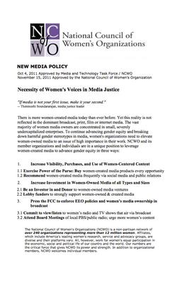 WOMEN'S MEDIA POLICY, Nov 2011