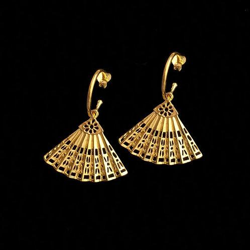 Vintage Fan Charm Earrings
