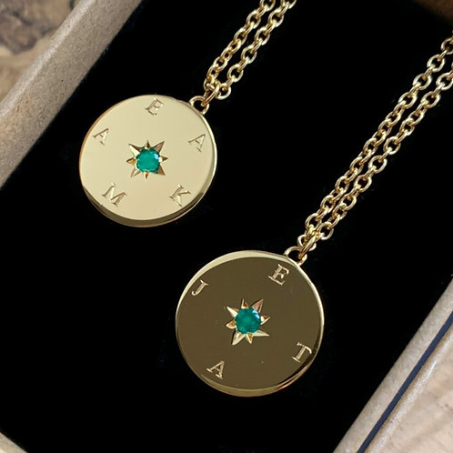 Engraved Emerald Star Disc Necklace