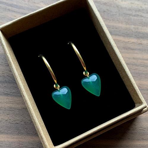 Green Agate Heart Drops