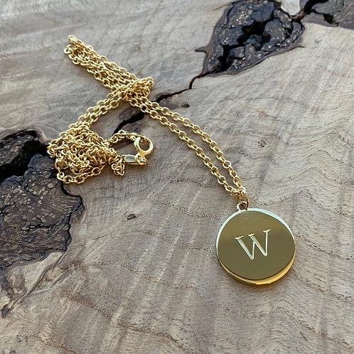Engraved Letter Disc Necklace