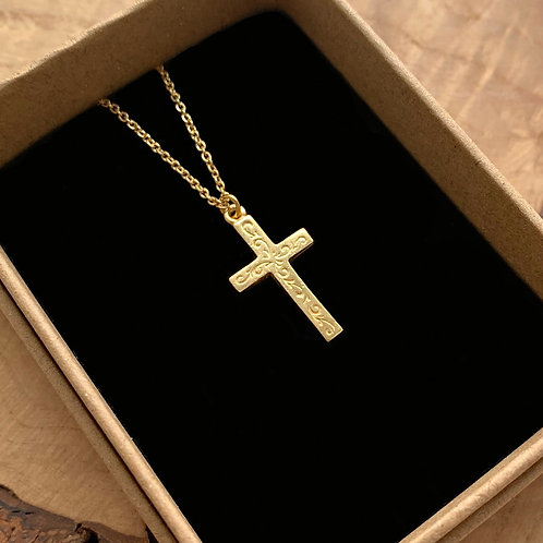 Vintage Engraved Cross Necklace
