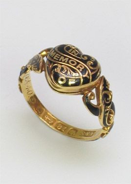 Early Victorian Heart Shaped Mourning Ring from Charlotte Sayers