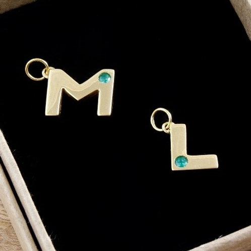 Birthstone Letter Charm