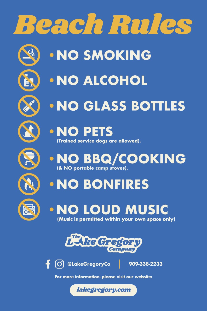 Beach Rules - No Smoking, No Alcohol, No Glass Bottles, No Pets, No BBQ, No Bonfires, No Loud Music