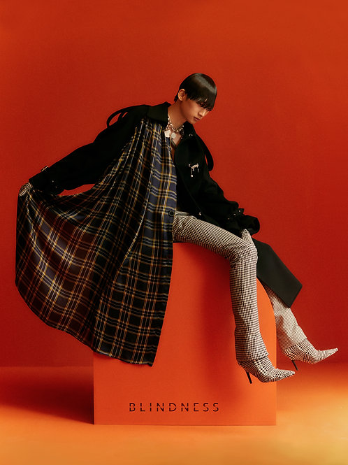 Houndstooth check Trench coat Black