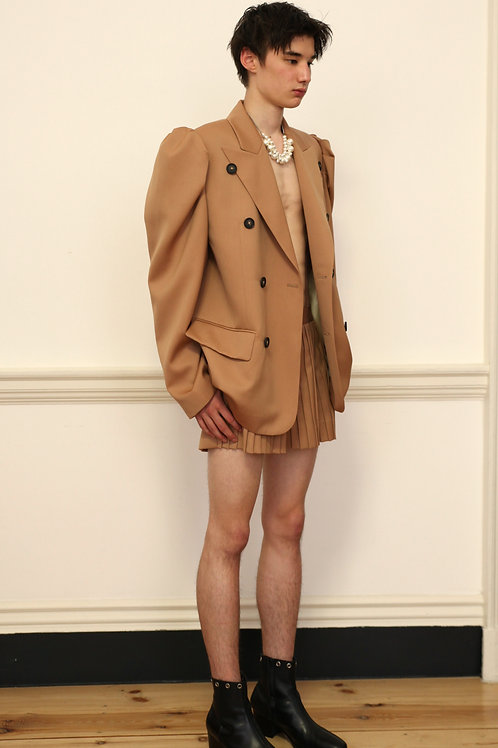 Puff shoulder Beige Jacket / Shorts