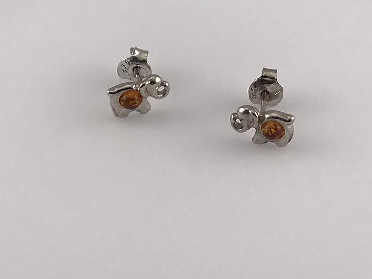 Boucles d'oreilles éléphant en ambre