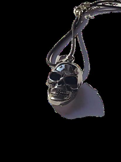 Pendentif tête de mort acier argenté