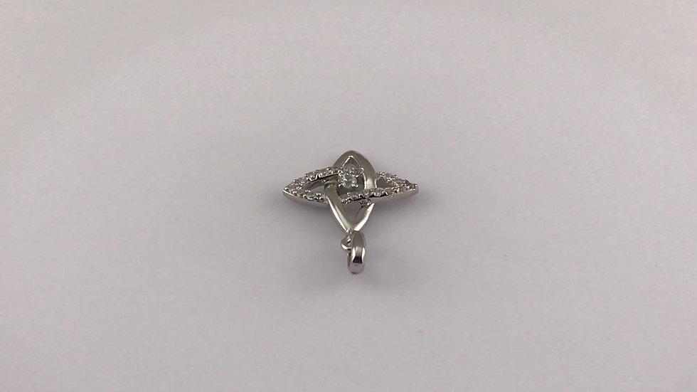 """Pendentif """"Rosace"""" avec un oxyde de zirconium sur argent rhodié 925/1000"""