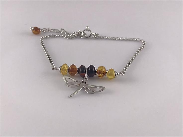 Bracelet papillon  et boules en ambre