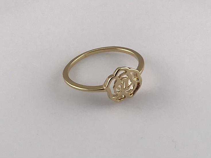 Bague fleur ajourée en plaqué or