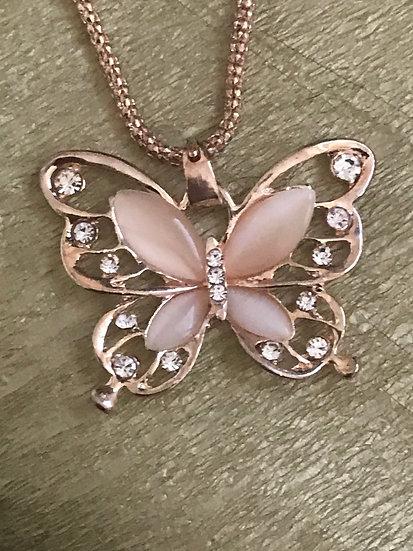 Pendentif papillon rose strass avec sa chaîne