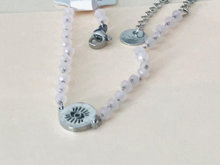 bracelet en acier et perle de cristal rose regard