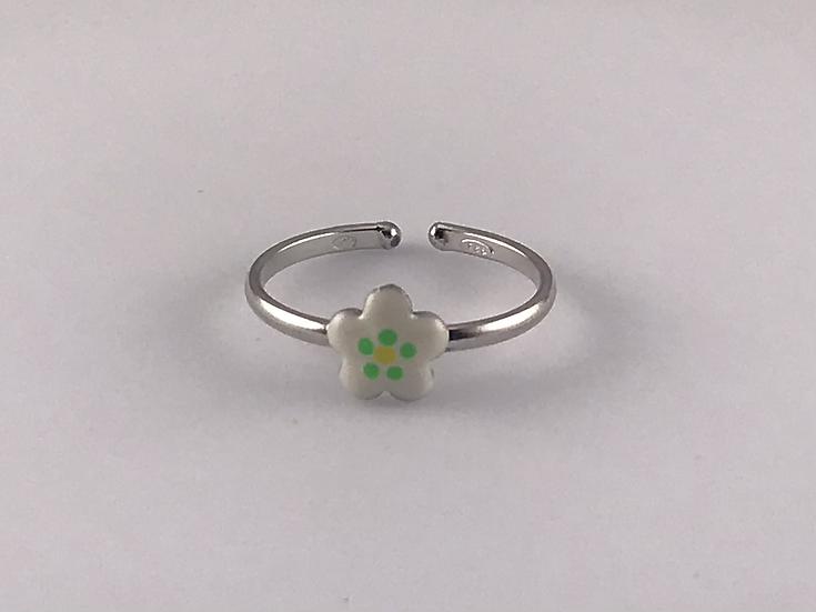 Bague réglable petite fleur blanche/verte