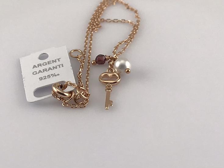 Collier clé en argent 925 doré rose perle de nacre et cristal teinté