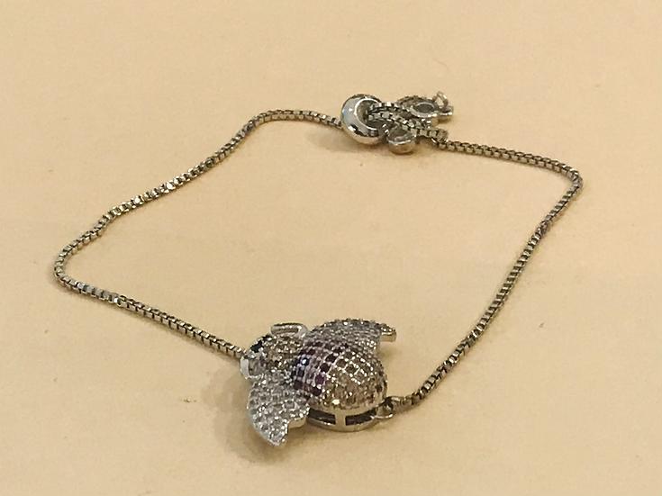 Bracelet acier mouche avec zirconium
