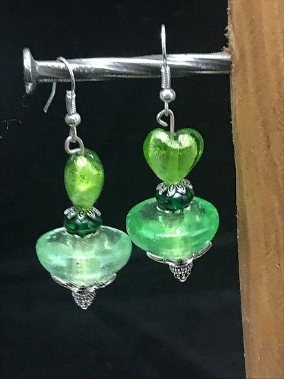 Boucled'oreille coeur verte