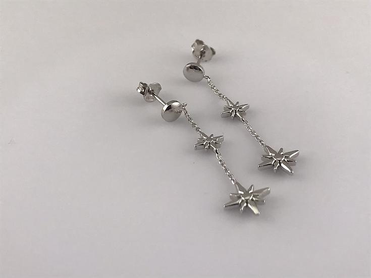 Boucles d'oreilles pendantes étoile en argent 925/1000 rhodié