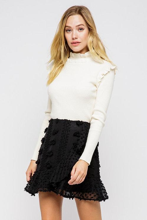 Falon Embellished Wrap Skirt- Black